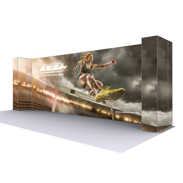 Lumiere Light Wall Configuration H - Backlit(Graphic Package). A combination of innovative silicone-edge graphics and RPL fabric pop ups offers an easier and more cost effective SEG option.