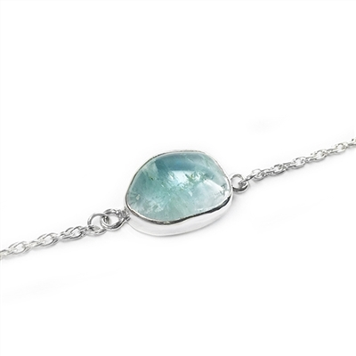 Aquamarine Promise Bracelet in Sterling or 14K GF