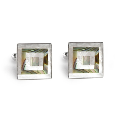 Square Abalone and Mother of Pearl Inlay Cufflinks