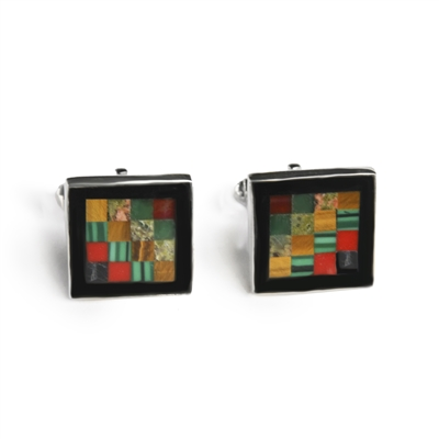 Square Autumn Check Inlay Cufflinks