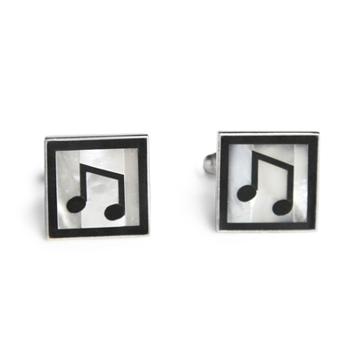 Square Sterling Silver Black & White Music Note Inlay Cufflinks