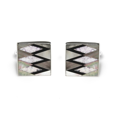 Square Sterling Silver Chariote Zig Zag Inlay Cufflinks
