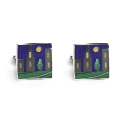 Square Cityscape Inlay Cufflinks