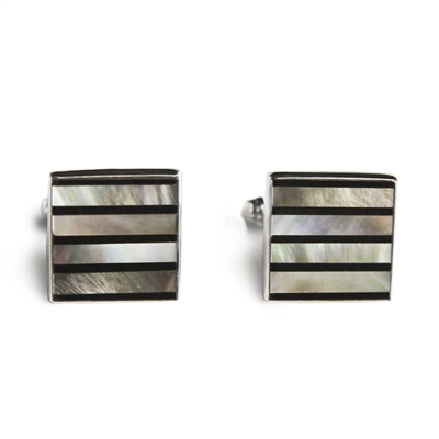 Square Gray & Black Pinstripes Inlay Cufflinks