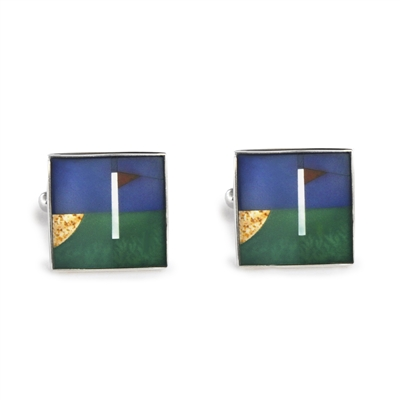Square Golf Inlay Cufflinks