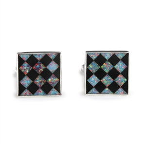Opal and Onyx Harlequin Inlay Cufflinks