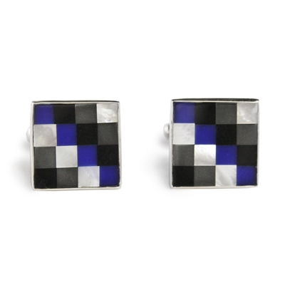 Square Hematite & Lapis Check Inlay Cufflinks