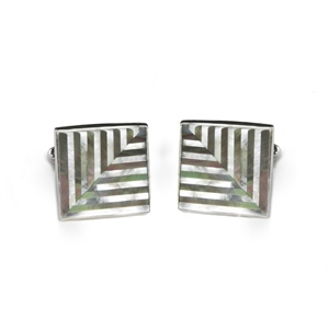 Square Herringbone Inlay Cufflinks