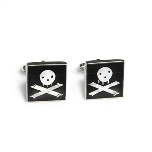 Square Jolly Roger Inlay Cufflinks
