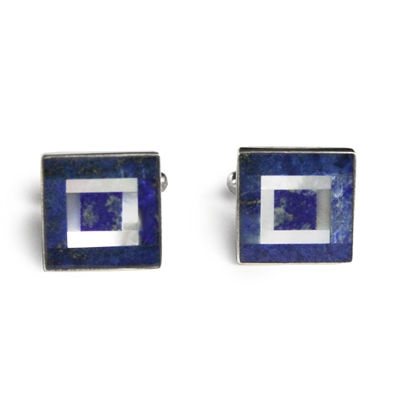 Square Blue & White Multi Inlay Cufflinks