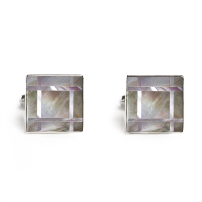 Square Pink & Gray Grid Cufflinks