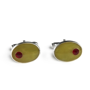 Oval Olive Inlay Cufflinks