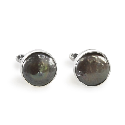 Round Gray Coin Pearl Cufflinks + MORE COLORS