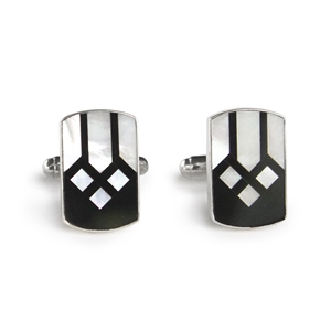Rectangle Black & White Cathedral Inlay Cufflinks