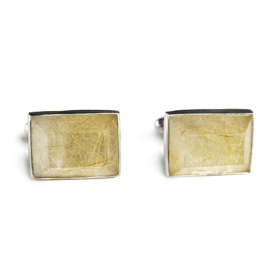 Rectangle Faceted Stone Cufflinks + MORE COLORS