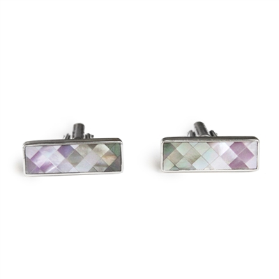 Pink and Gray Mother of Pearl Bar Cufflinks