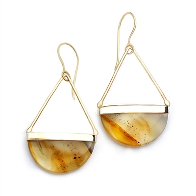 Long gold filled earrings in montana agate