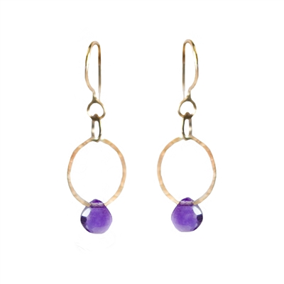 Earrings of a gently hammered 14K gold filled loop with faceted briolette. Shown in amethyst.
