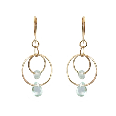 14K Gold filled lightly hammered hoop earrings. Shown in Peruvian Chalcedony.
