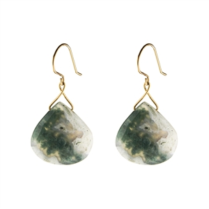 Large Twinkling Drop Earrings in Green Moss Agate