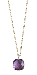 Dazzling Cushion Cut Necklace in Gold Filled