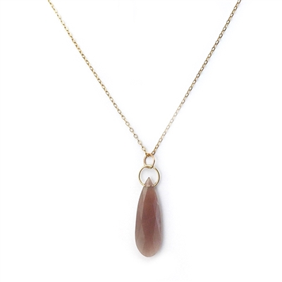 Ltd. Edition 14K Gold Filled Precious Circle Necklace in Peach Moonstone