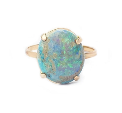 Prong set Mintabie opal ring