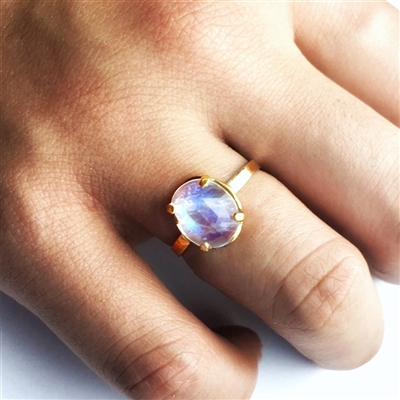 Rose Cut Rainbow Moonstone Ring in Sterling or 14k Gold Filled