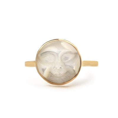Carved Face Mother of Pearl 14k Gold Filled Ring