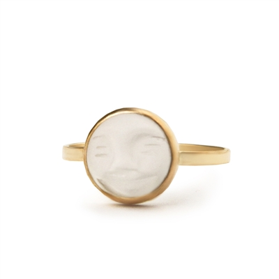 Carved Face Rock Crystal 14k Gold Filled Ring