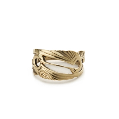 Double Heron Ring in 14k Gold