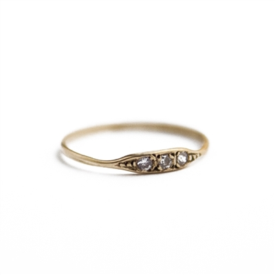 14K Gold Moonshine Three Stone Ring + MORE COLORS