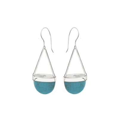 Long sterling silver drop earrings in labradorite