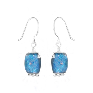 Soft square earrings in sterling silver and opal. Handmade by Great Falls Jewelry.
