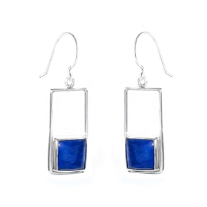 "Sterling silver earrings with square gemstones. Shown in lapis. Each earring is 1 1/4"" inch in length and features a 10mm gemstone."