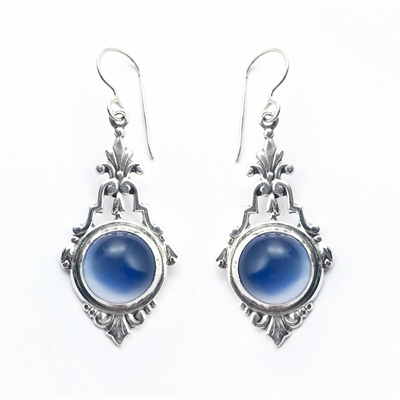 Sterling silver vintage style earrings using victorian filigree in blue onyx.