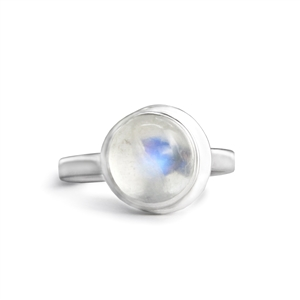 Moon Ring in Rainbow Moonstone