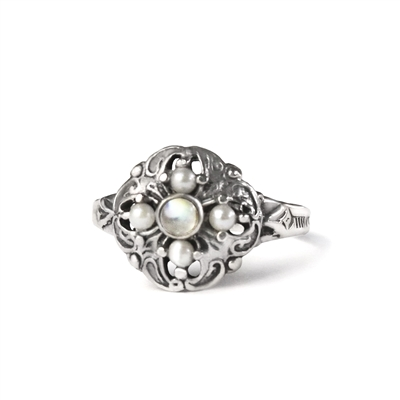 Round Stone and Pearl Antique Ring + MORE COLORS