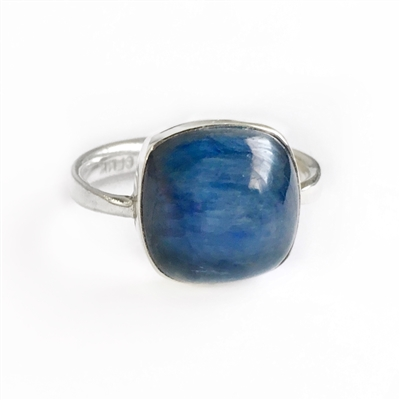 Kyanite Soft Cushion Ring in Sterling Silver