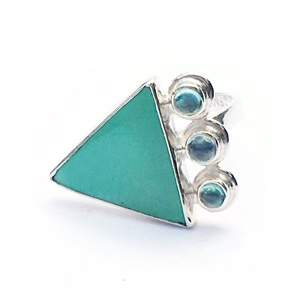 Natural turquoise and apatite ring by Great Falls Jewelry