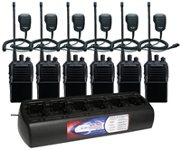Vertex VX-231-AG7B-5 UNI 6 Pack with Speaker Mics and Bank Charger