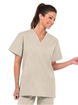Fashion Seal - Ladies Tan FP V-neck Tunic Scrub Top. 7236