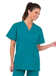 Fashion Seal - Ladies Teal FP V-neck Tunic Scrub Top. 7288