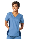 Fashion Seal - Ladies Ciel/Navy FP Side Flex Tunic Scrub Top. 7541
