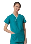 Fashion Seal - Unisex Teal FB Rev Crisscross Scrub Shirt. 7932