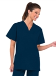 Fashion Seal - Ladies Navy V-neck Tunic Flash Slacks Scrub Set. FS-SCRUBSET35 - PETITE