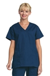 Fashion Seal - Ladies Navy Mock Crossover Tunic Scrub Set. FS-SCRUBSET37