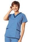 Fashion Seal - Ladies Ciel/Navy Double V-neck Tunic Scrub Set. FS-SCRUBSET40 - PETITE