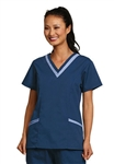 Fashion Seal - Ladies Navy/Ciel Double V-neck Tunic Scrub Set. FS-SCRUBSET41 - PETITE