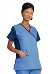 Fashion Seal - Ladies Ciel/Navy Crossover Flex Tunic Scrub Set. FS-SCRUBSET45 - PETITE